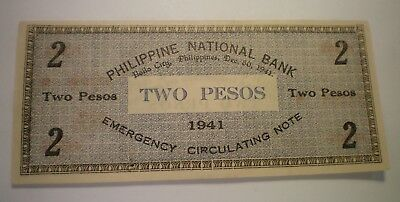 1941 Philippines National Bank 2 Peso Emergency Circulation Note
