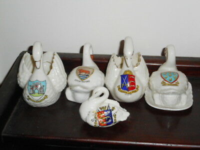 Colletion of 5 Crested China Swans - Varied Crests