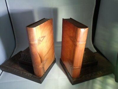 Very Rare Unusual Hand Carved Book Ends With Realistic Wood Book Wood Clasps