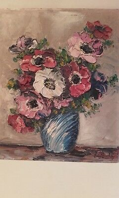A Pretty Vintage oil on board of Flowers Painting ~ Anemones