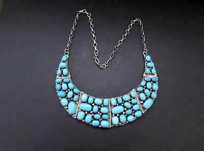 Beautiful Vintage B.JOHNSON Navajo Sterling Sleeping Beauty Turquoise Necklace