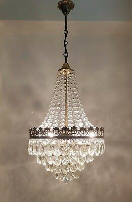 Antique French Basket Style Brass & Crystals Beautiful LARGE Chandelier 1950's