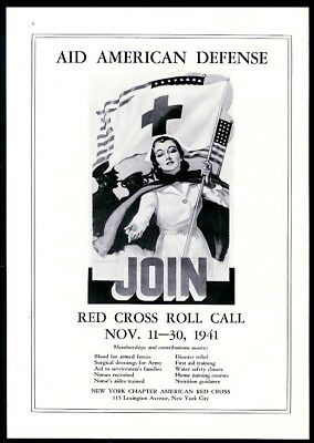 1941 American Red Cross nurse illustration For American Defense vintage print ad