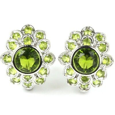 Gorgeous Green Peridot SheCrown Wedding Ladies Silver Earrings