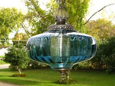 Vintage Mid Century BLUE Optic Glass UFO Hanging Swag Lamp CLEAN