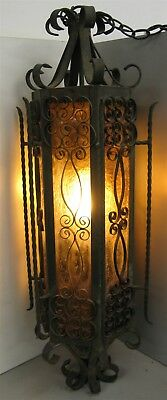 Wrought Iron Caged Crackle Amber Glass Swag Light Fixture – Antique Gothic (#1)