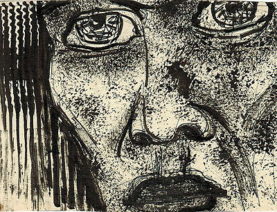 FACE WITH BIG EYES ink drawing by u/k Russian artist
