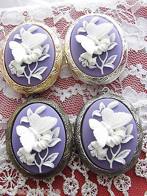 #jrb10 Purple Lavender White 3D Cameo Butterfly Locket Photo Quality Christmas