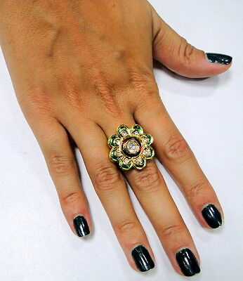 Vintage 20 ct gold polki diamond ring floral design