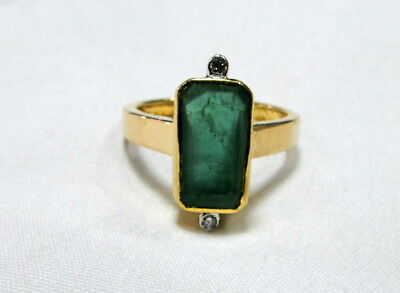 vintage Art deco 18 K solid gold natural Emerald Diamond ring jewelry 9953
