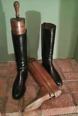 Vintage Leather Riding Boots & Rare Military  Boot Trees Somerset Light Infantry