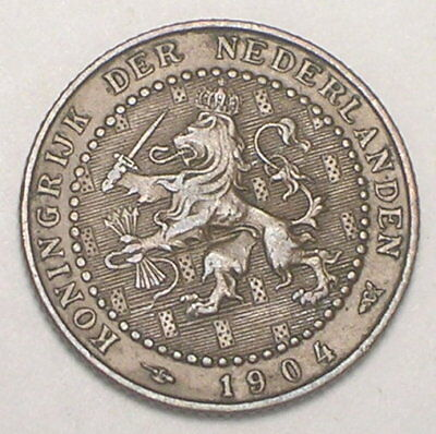 1904 Netherlands Dutch 1 Cent Lion and Sword Coin VF+