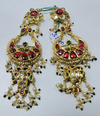 Vintage antique 20K gold diamond polki earrings kundan meena jewelry   237
