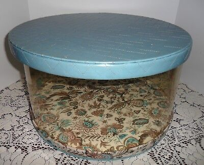 """VTG Ladies Dress HAT BOX Clear Plastic Floral QUILTED Top/Base 16"""" LARGE Round"""