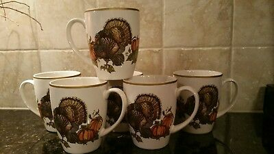 Pottery Barn Set of 6 HERITAGE TURKEY FALL THANKSGIVING Coffee MUGS