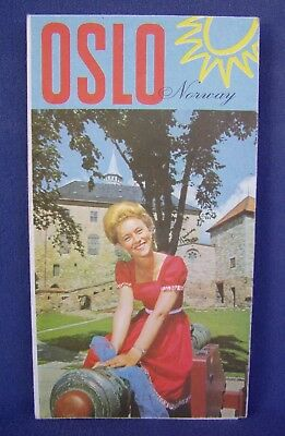 1967 Oslo Norway Map & Visitors Guide Oslo Travel Association & A/S Norske Shell