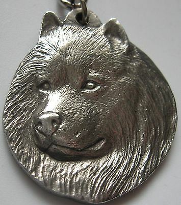 Vintage 1982 Rawcliffe Pewter Keychain Spitz Key Ring I Love My Spitz Dog