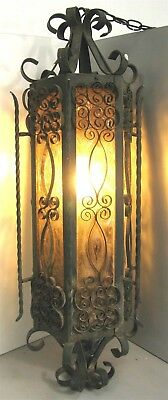 Wrought Iron Caged Crackle Amber Glass Swag Light Fixture – Antique Gothic (#2)