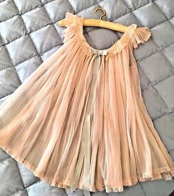 1950'S Peach Baby Doll Sheer Pleated Negligee, Size M, Nylon, Lace Trim, Lovely!