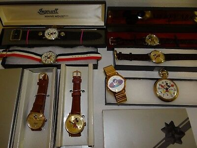 Lot 8 NEW & Nr Mint Vintage Mickey & Minnie Mouse Ingersoll Bradley Etc Watches