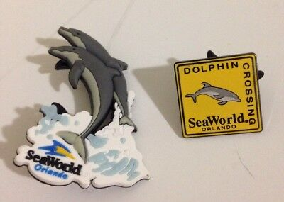 2 Different SeaWorld Orlando Dolphin Pins! * FREE SHIPPING! *