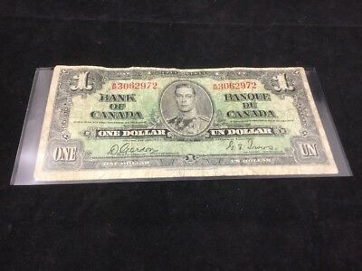 Canada $1 Dollar 1937 Bank Note