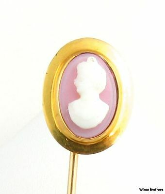 Faux Cameo Stickpin - Vintage Estate Oval Female Bust Collectible Fashion