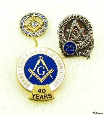 MASONIC Square & Compass Connecticut 25 40 Years 3 PINS