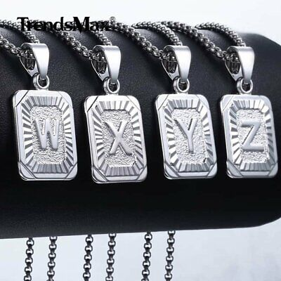 Womens Mens Chain Initial Letter A to Z Pendant Necklace Gold Filled Box Jewelry