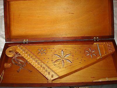 Latvian Kokle Wood Instrument And Case Made By Fricis Vilmanis