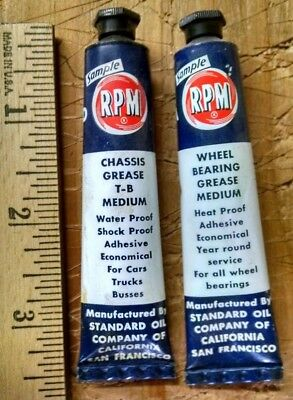 2 VINTAGE RPM CHEVRON SAMPLE TUBES CHASSIS WHEEL BRG.GREASE new unused very nice