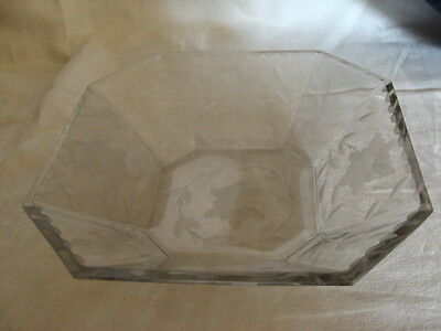 Vtg. Crystal Etched Bowl With Beveled Edge Rim