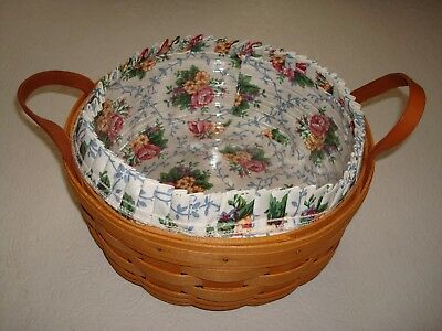 "Longaberger 10"" Round Fruit Basket With Plastic Liner & Leather Handles 1997"