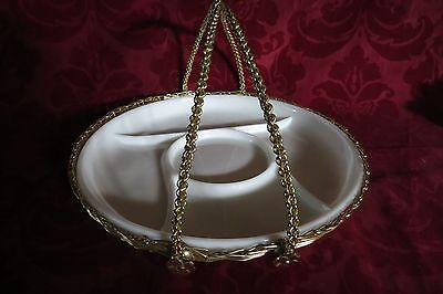 Milk Glass Vegetable / Relish Tray W/ Basket Carrier