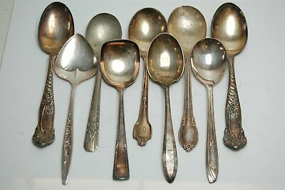 Antique Vintage Elegant Silverplate Scalloped Sugar Spoons - Lot of 9 Assorted