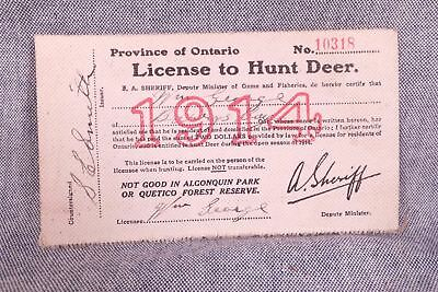 Antique Rare Ontario Canada License To Hunt Deer 1914 Hunting, Excellent!
