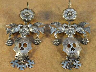 Mexican Mexico Sterling Silver Day of The Dead Frida Earrings