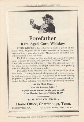 1908 R M Rose Co Distillers Chattanooga TN Ad: Forefather Rare Aged Corn Whiskey