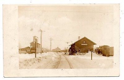 Mcfarland,wisconsin,dane County,railroad Depot,snowy Winter View,azo Rppc