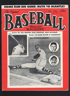July 1953 Baseball Magazine with Mickey Mantle cover