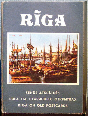 RIGA ON OLD POSTCARDS - 23 CARDS IN FOLDERS, captions in 3 languages