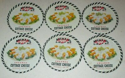 Lot of 6 1950's MENZIE DAIRY Mckeesport Vintage Creamed Cottage Cheese LIDS ONLY