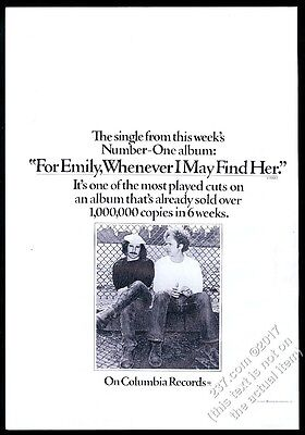 1972 Simon and Garfunkel photo For Emily song release music trade vintage ad