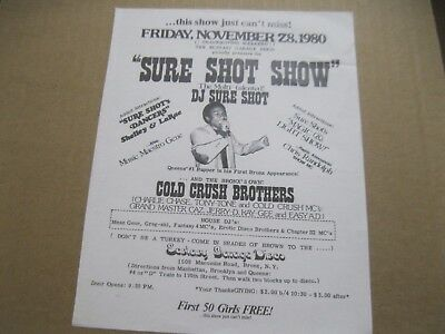 Rare Hip Hop Flyer Cold Crush Brothers-D.j. Sure Shot-Mean Gene Fantasy 4 M.c.'s