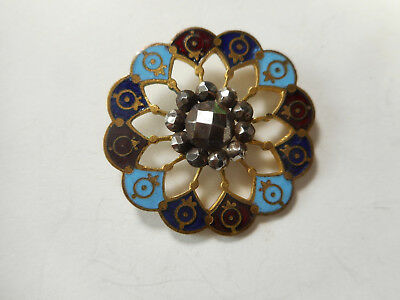 """Blue and Red Enamel w/ Cut Steel Flower-Like Center Antique Button 1-1/8"""" RS"""