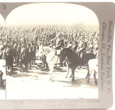 WWI Stereoview card:  Russian Troops on Review