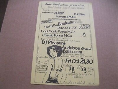 Rare Hip Hop Flyer Grand Master Flash & Furious 5-Bambaataa-Jazzy Jay Red Alert