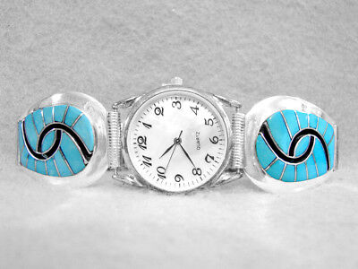 Zuni Mens Watch Turquoise Hummingbird Sterling Silver Native American Amy