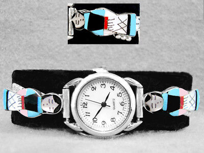 Native American Watch Turquoise Coral Zuni Maiden Sterling Silver V