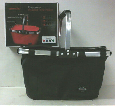 NEW Thermotastic Therma-Venture Insulated Picnic Basket BLACK